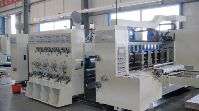 Corrugated box flexo printing machine with corrugated box stacking machine