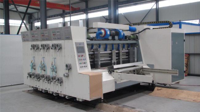 Flexo printing machine for corrugated box blanks